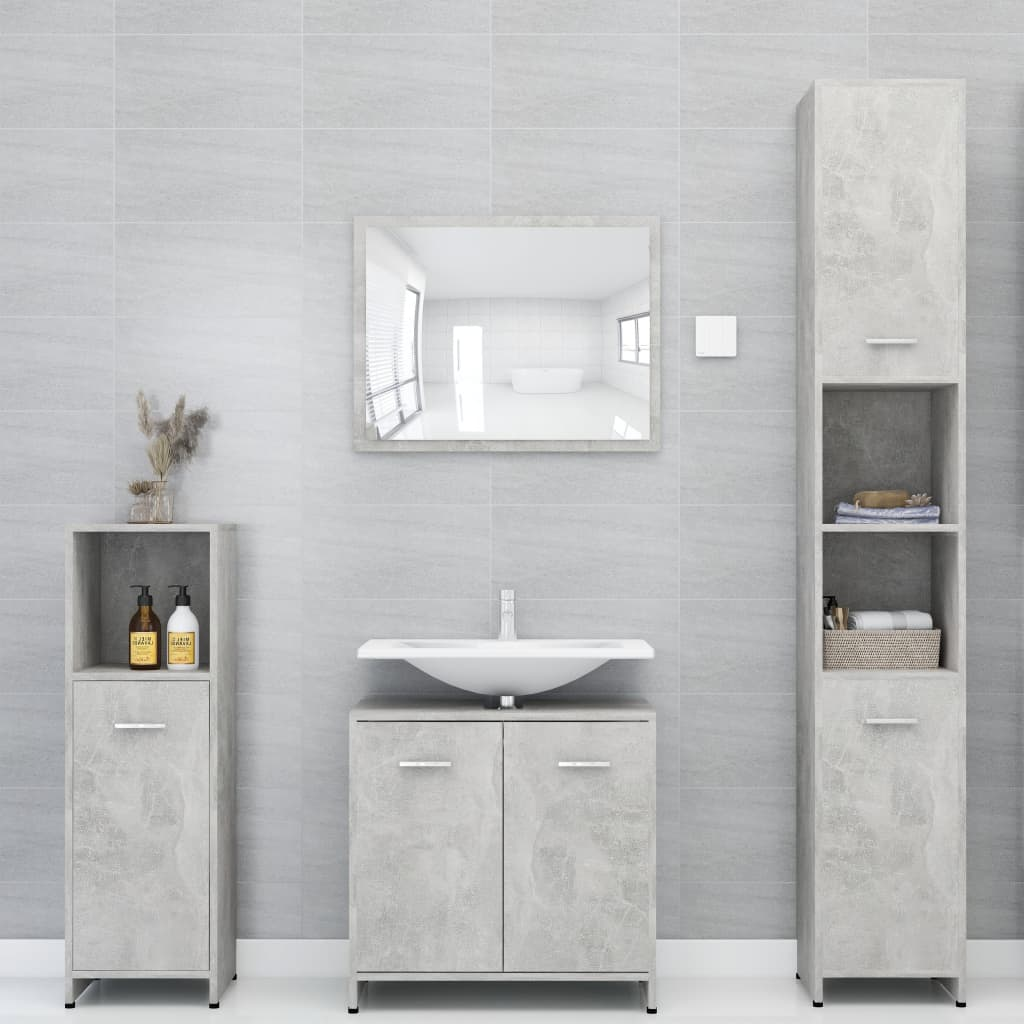 vidaXL Set mobilier baie, 4 piece, gri beton, PAL vidaxl.ro