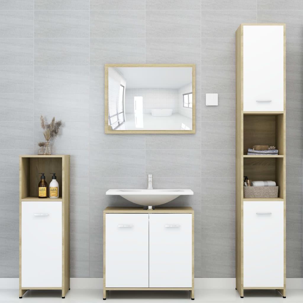 vidaXL Set mobilier baie, 4 piece, alb și stejar Sonoma, PAL imagine vidaxl.ro