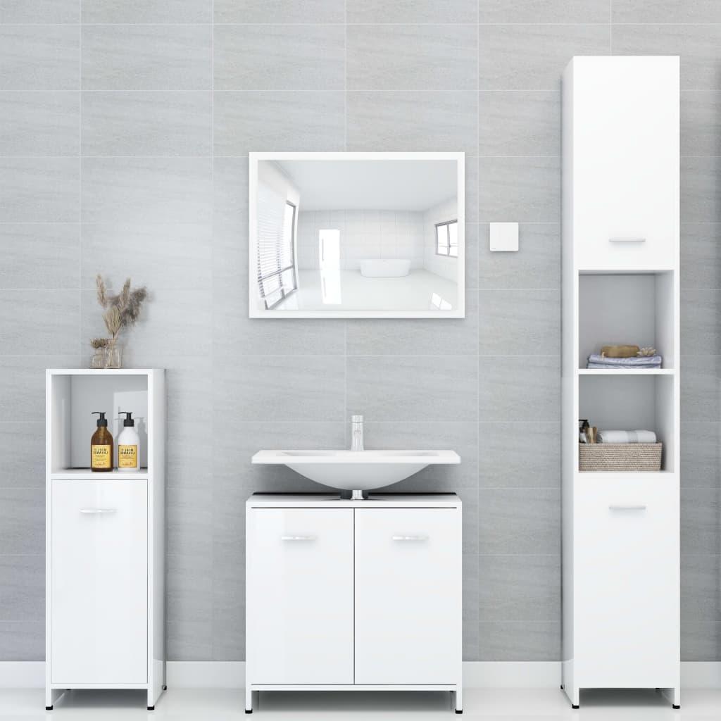 vidaXL Set mobilier de baie, 4 piese, alb extralucios, PAL vidaxl.ro