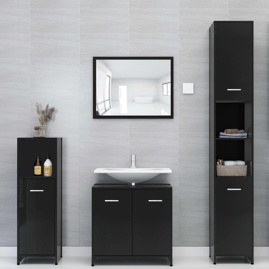 vidaXL Set mobilier de baie, 4 piese, negru extralucios, PAL imagine vidaxl.ro