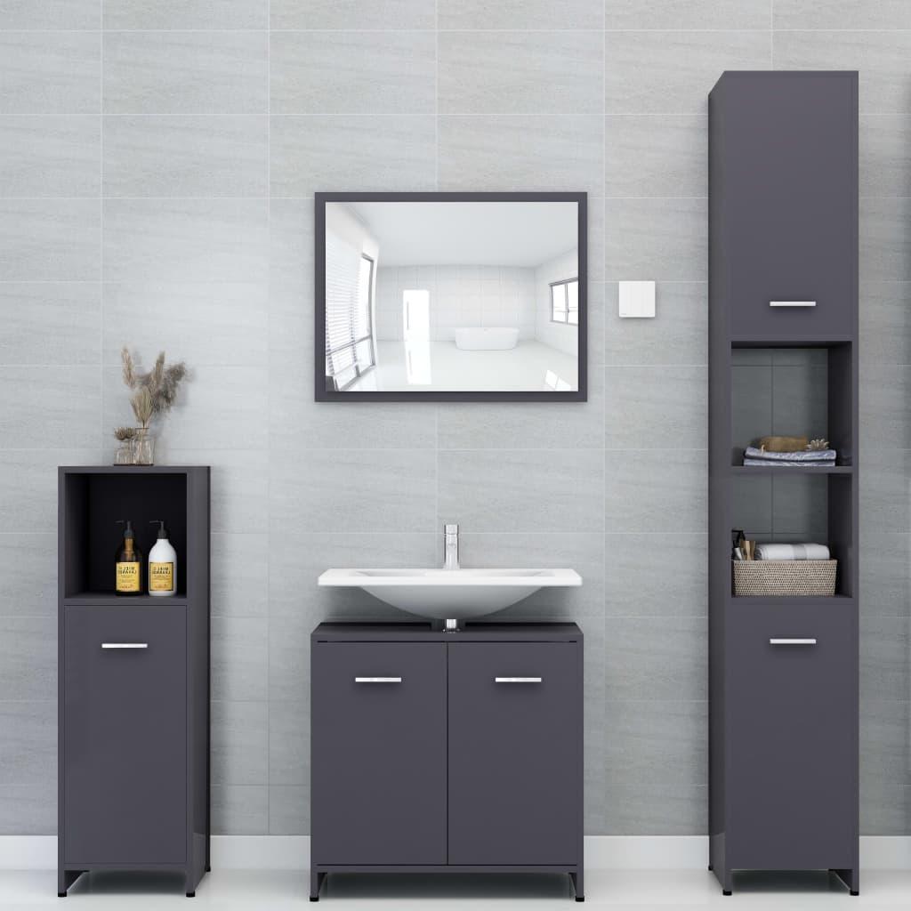 vidaXL Set mobilier de baie, 4 piese, gri extralucios, PAL poza vidaxl.ro