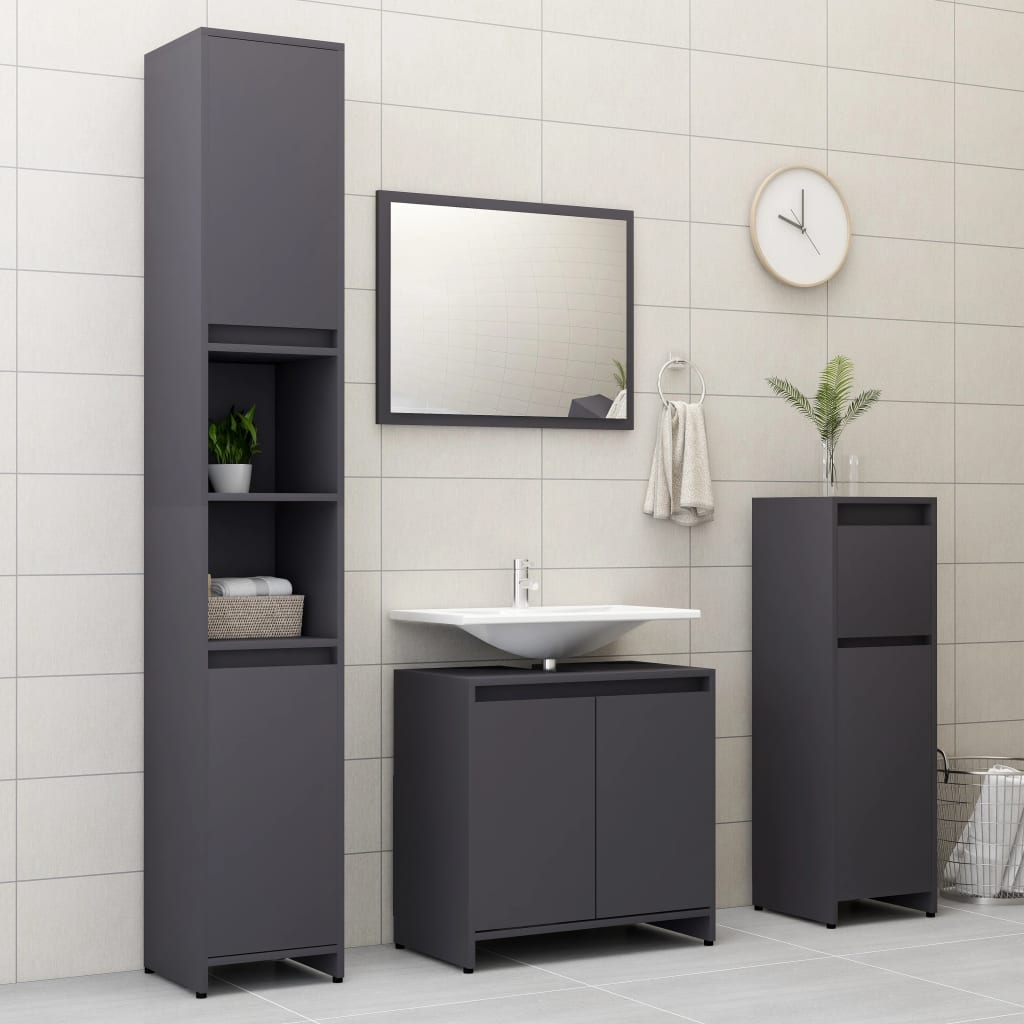 vidaXL Set mobilier de baie, 4 piese, gri, PAL imagine vidaxl.ro