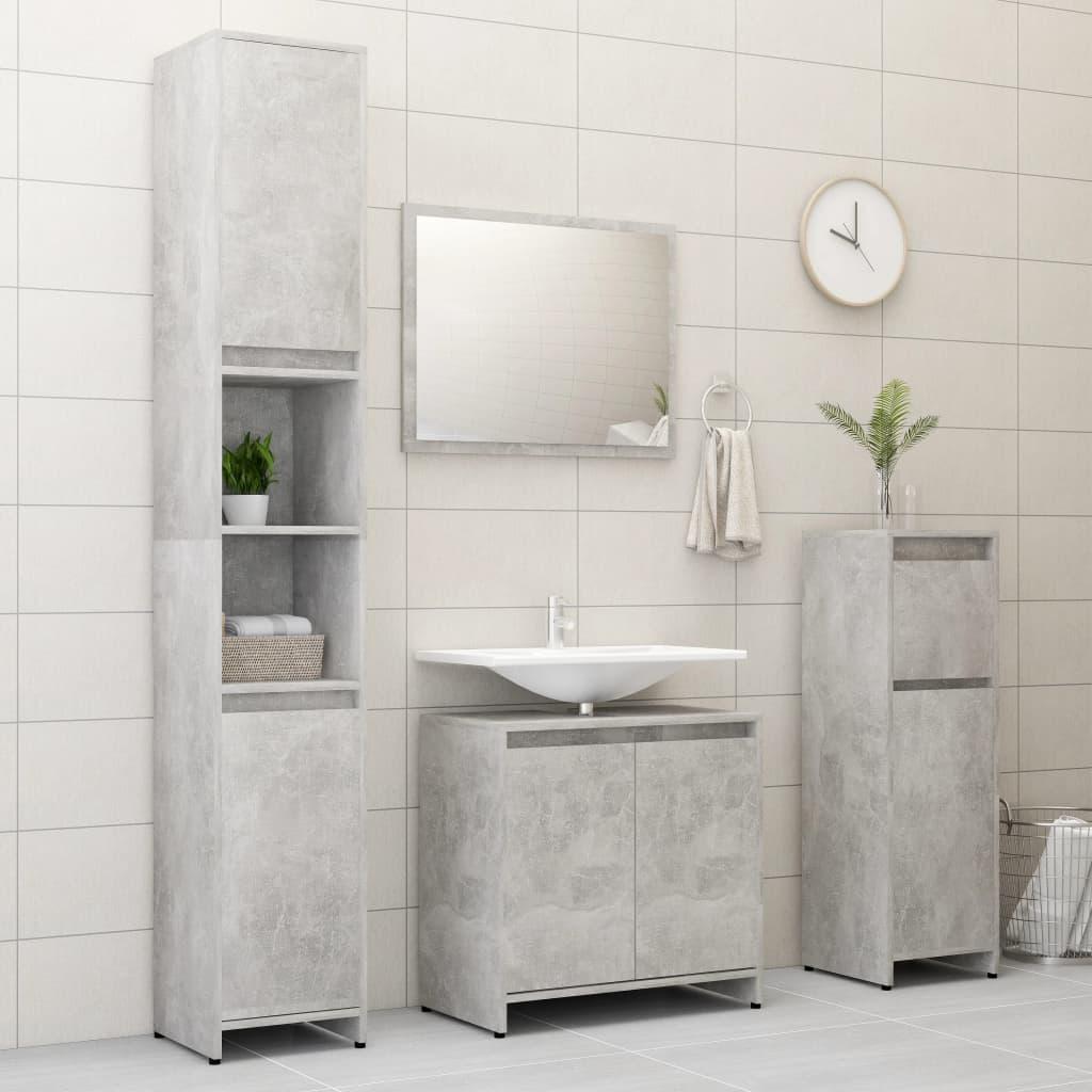 vidaXL Set mobilier de baie, 4 piese, gri beton, PAL imagine vidaxl.ro