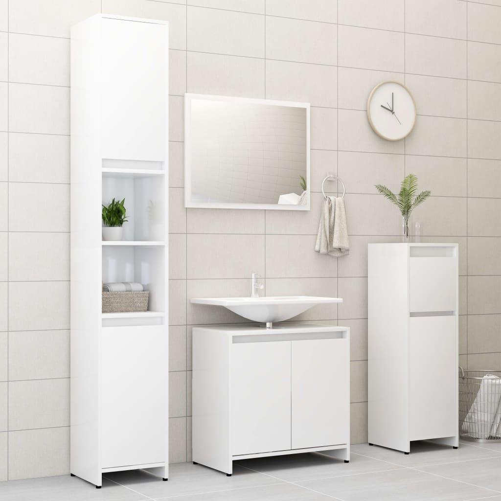 vidaXL Set mobilier de baie, 4 piese, alb extralucios, PAL imagine vidaxl.ro