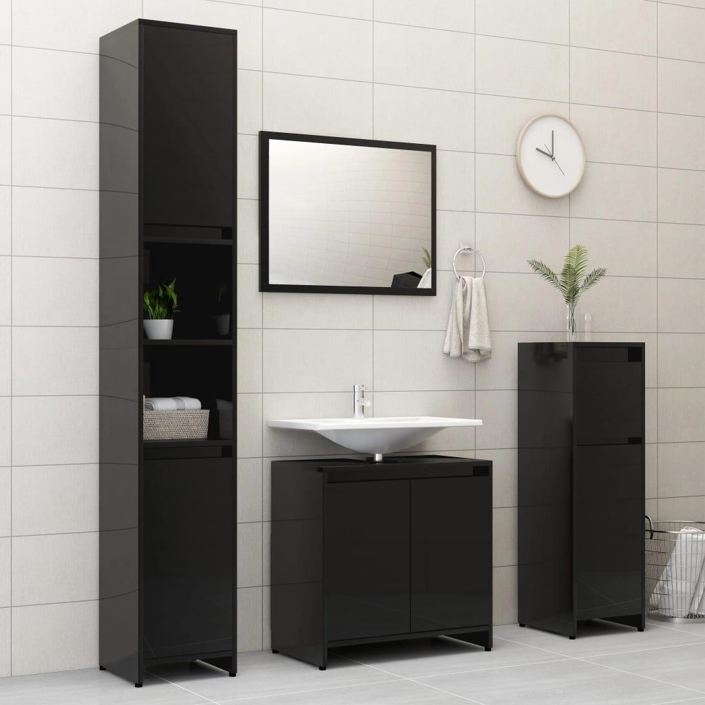 vidaXL Set mobilier de baie, 4 piese, negru extralucios, PAL poza 2021 vidaXL