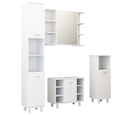 vidaXL 4 Piece Bathroom Cabinet Set White Chipboard