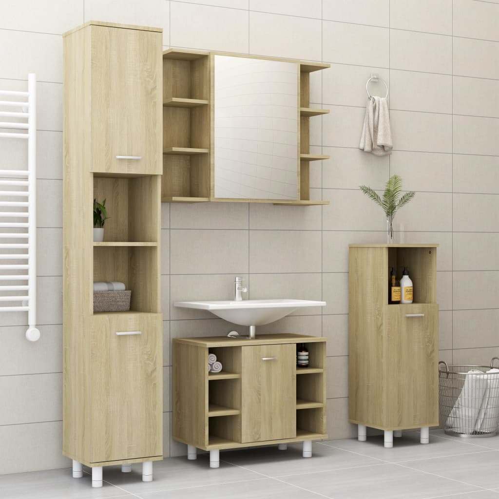 vidaXL Set mobilier de baie, 4 piese, stejar Sonoma, PAL vidaxl.ro
