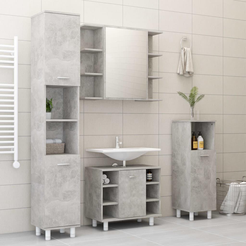 vidaXL Set mobilier baie, 4 piece, gri beton, PAL poza 2021 vidaXL