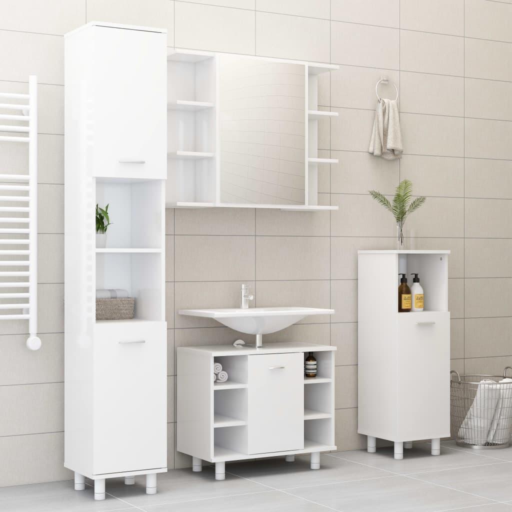 vidaXL Set mobilier de baie, 4 piese, alb extralucios, PAL poza vidaxl.ro