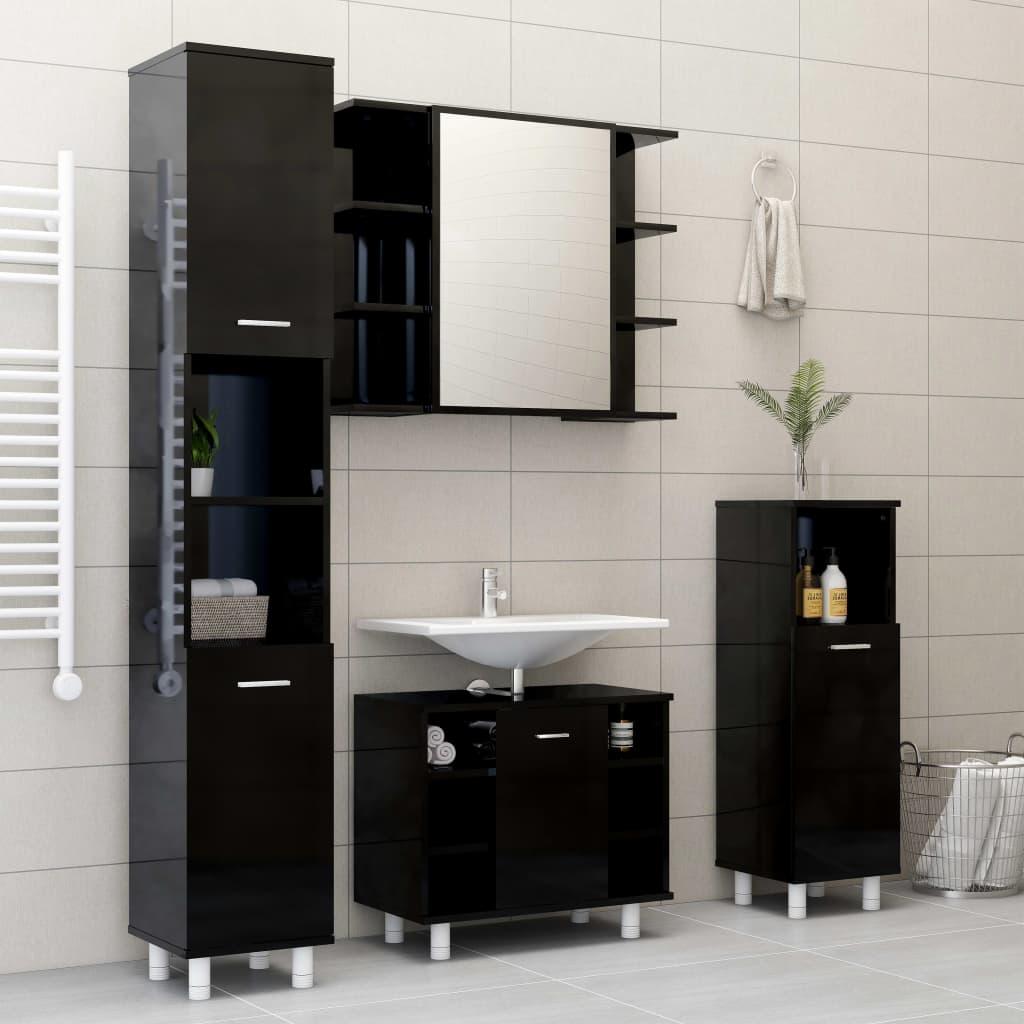 vidaXL Set mobilier baie, 4 piese, negru extralucios, PAL vidaxl.ro
