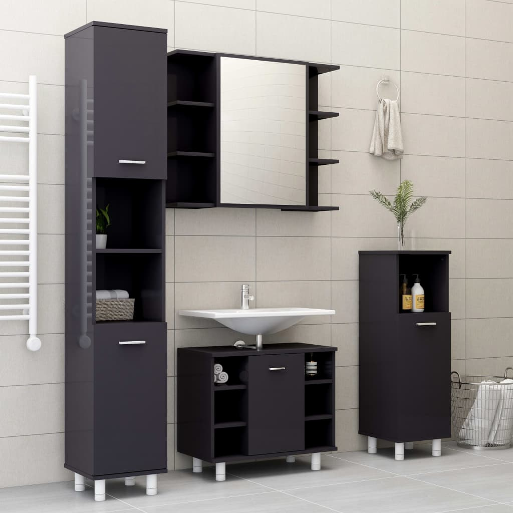 vidaXL Set mobilier baie, 4 piece, gri extralucios, PAL poza 2021 vidaXL