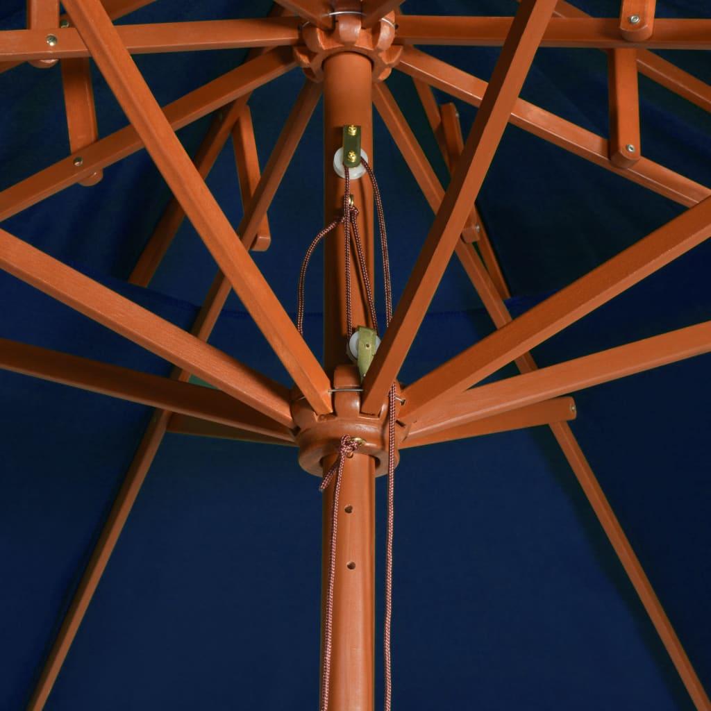 vidaXL Parasol dubbeldekker met houten paal 270 cm blauw
