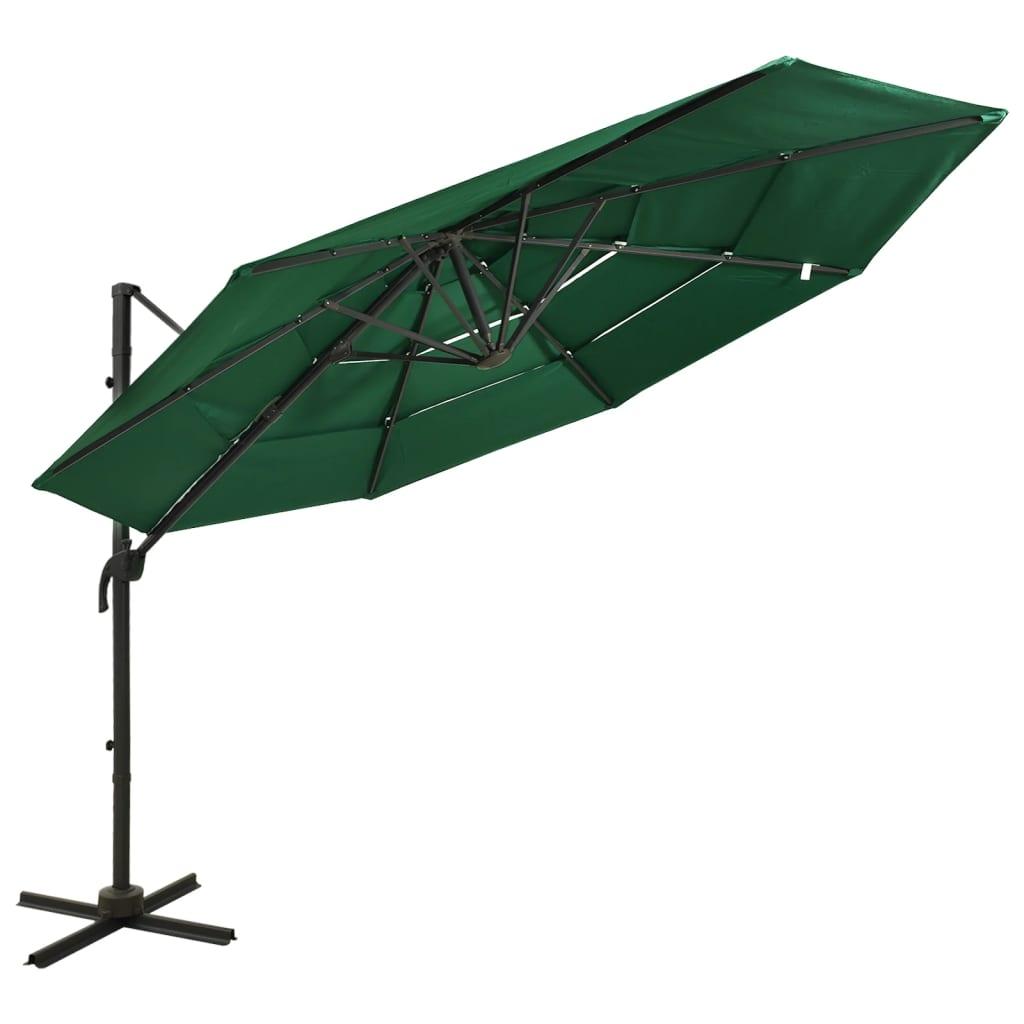 Parasol 4-laags met aluminium paal 3x3 m groen