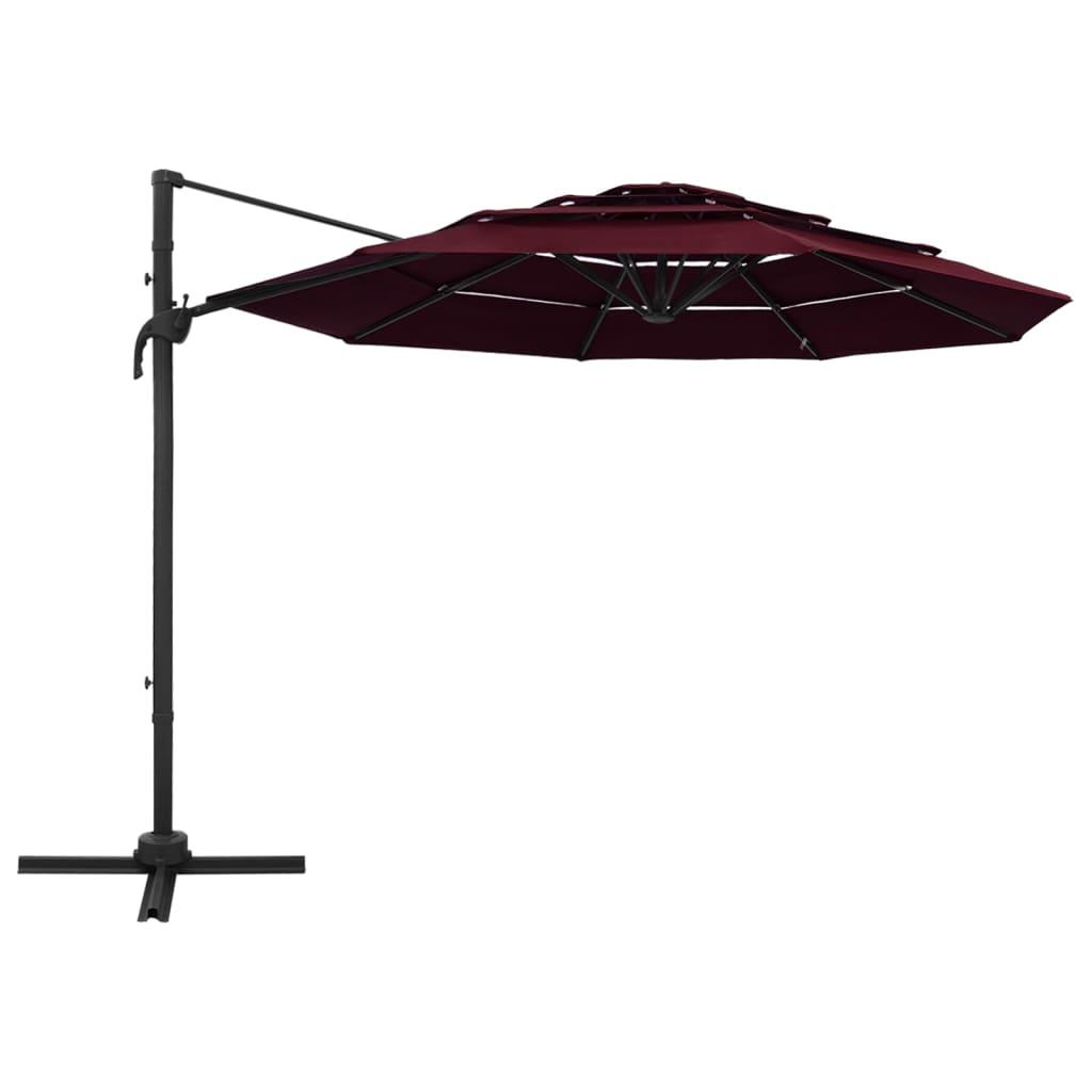 Parasol 4-laags met aluminium paal 3x3 m bordeauxrood