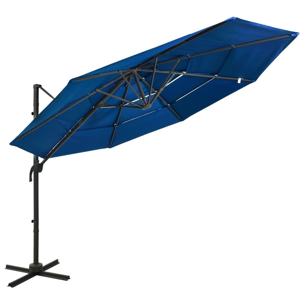 Parasol 4-laags met aluminium paal 3x3 m azuurblauw