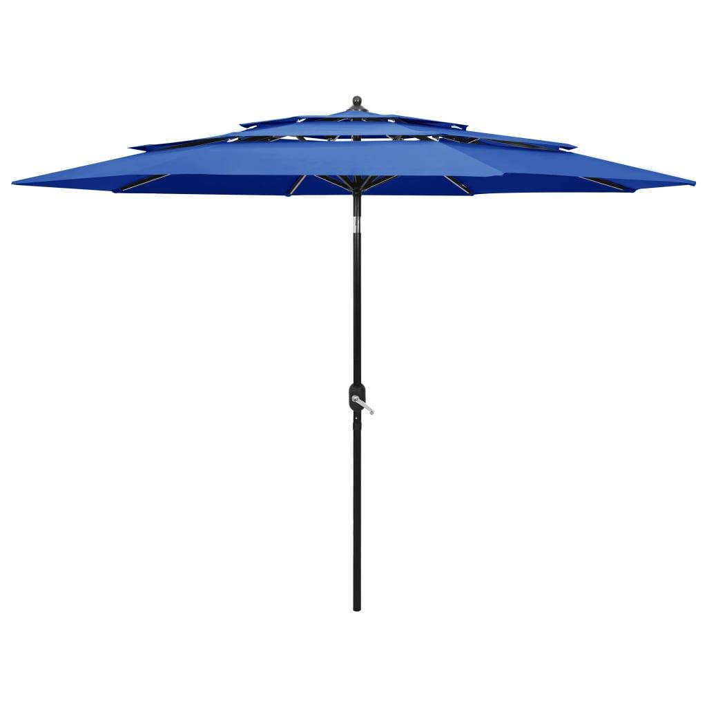 Parasol 3-laags met aluminium paal 3 m azuurblauw