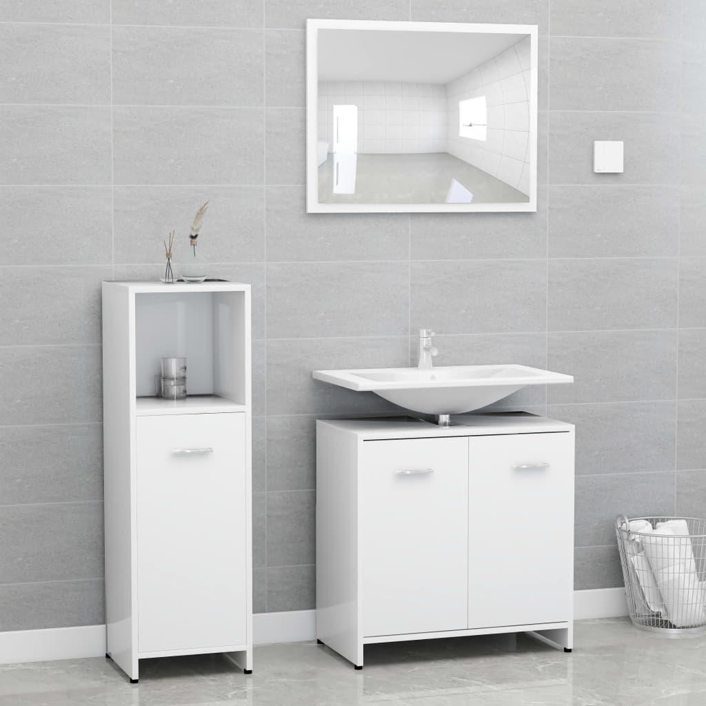 vidaXL Set mobilier de baie, 3 piese, alb, PAL vidaxl.ro
