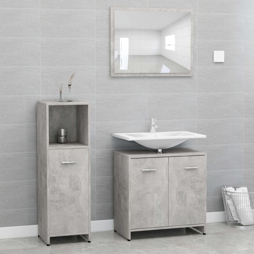 vidaXL Set mobilier baie, 3 piese, gri beton, PAL imagine vidaxl.ro