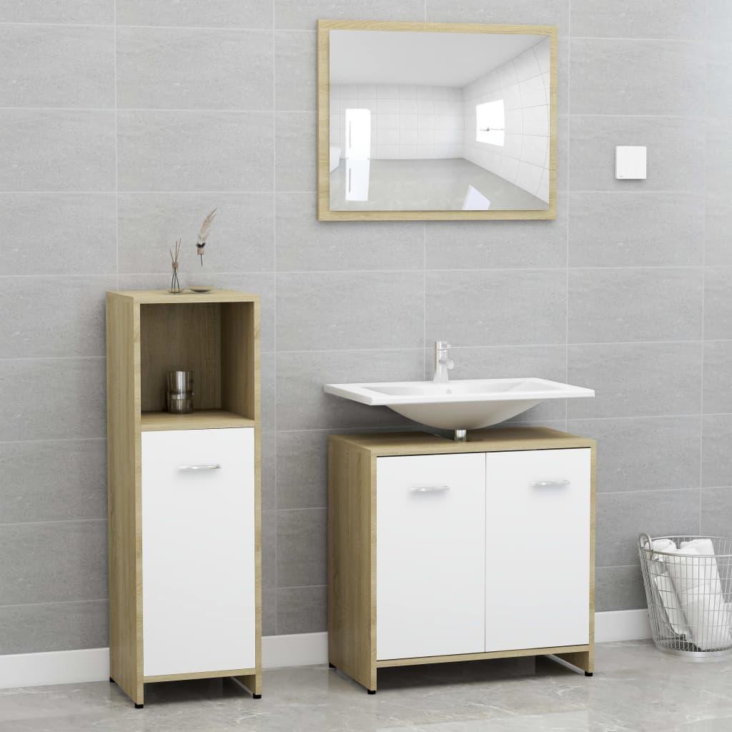 vidaXL Set mobilier baie, 3 piece, alb și stejar Sonoma, PAL poza 2021 vidaXL