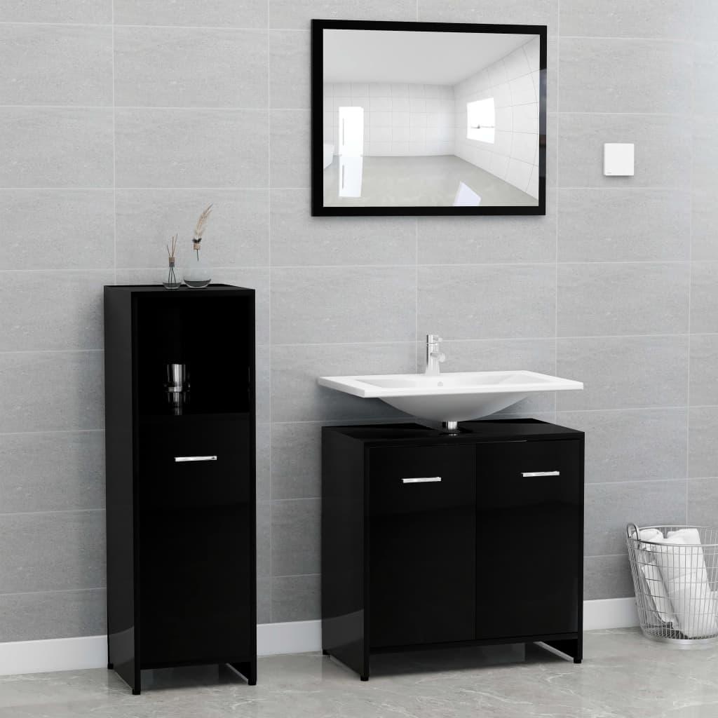 vidaXL Set mobilier de baie, 3 piese, negru extralucios, PAL poza vidaxl.ro