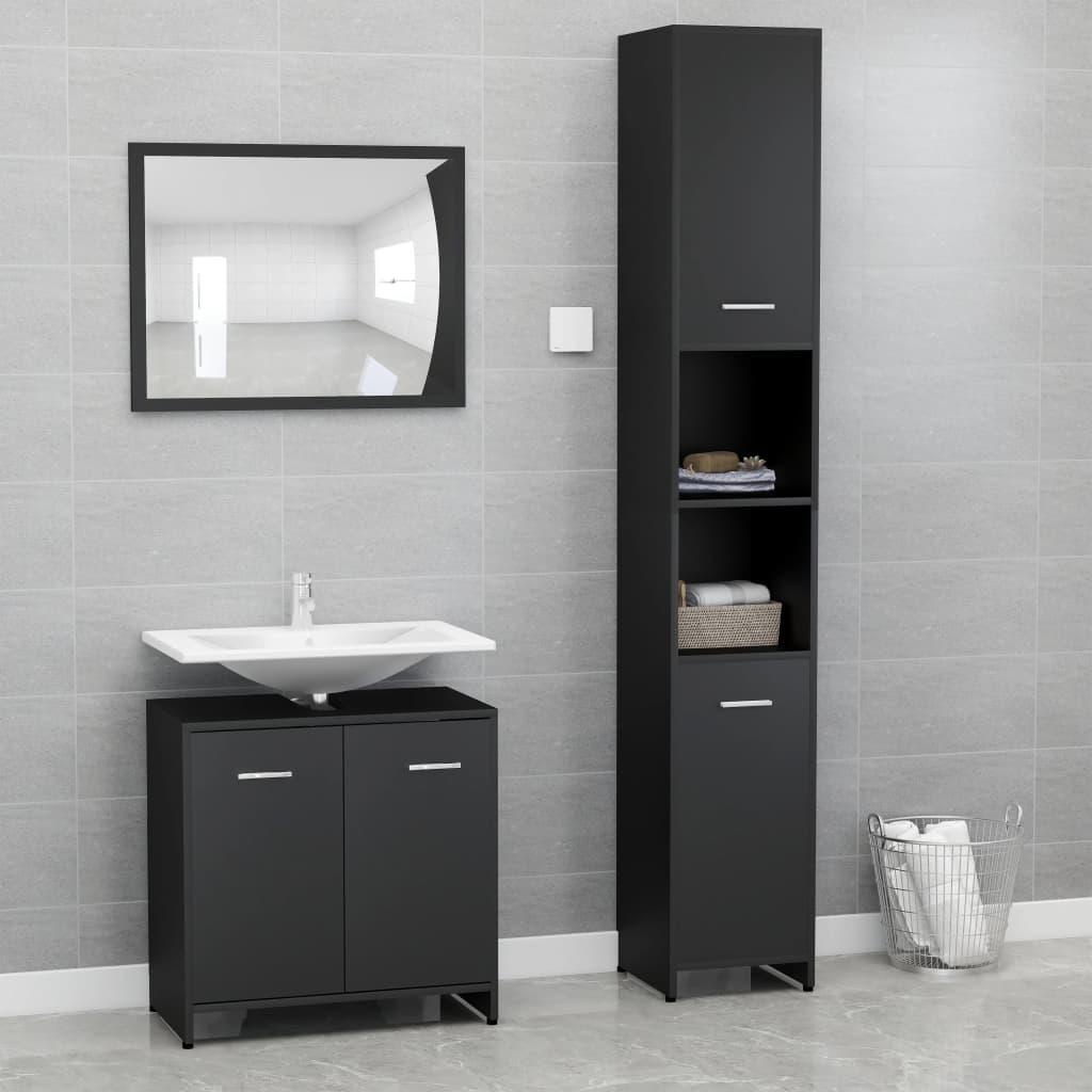 vidaXL Set mobilier de baie, 3 piese, negru, PAL poza vidaxl.ro