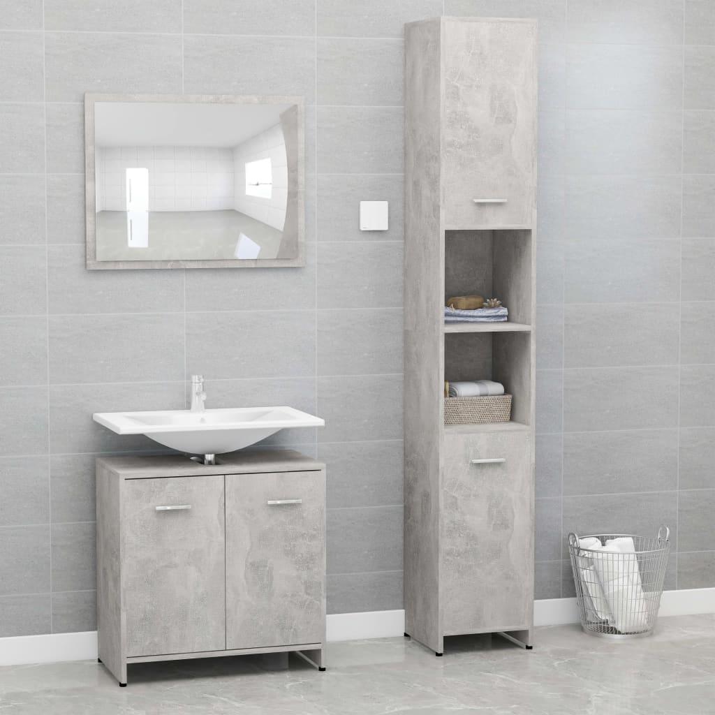 vidaXL Set mobilier de baie, 3 piese, gri beton, PAL imagine vidaxl.ro