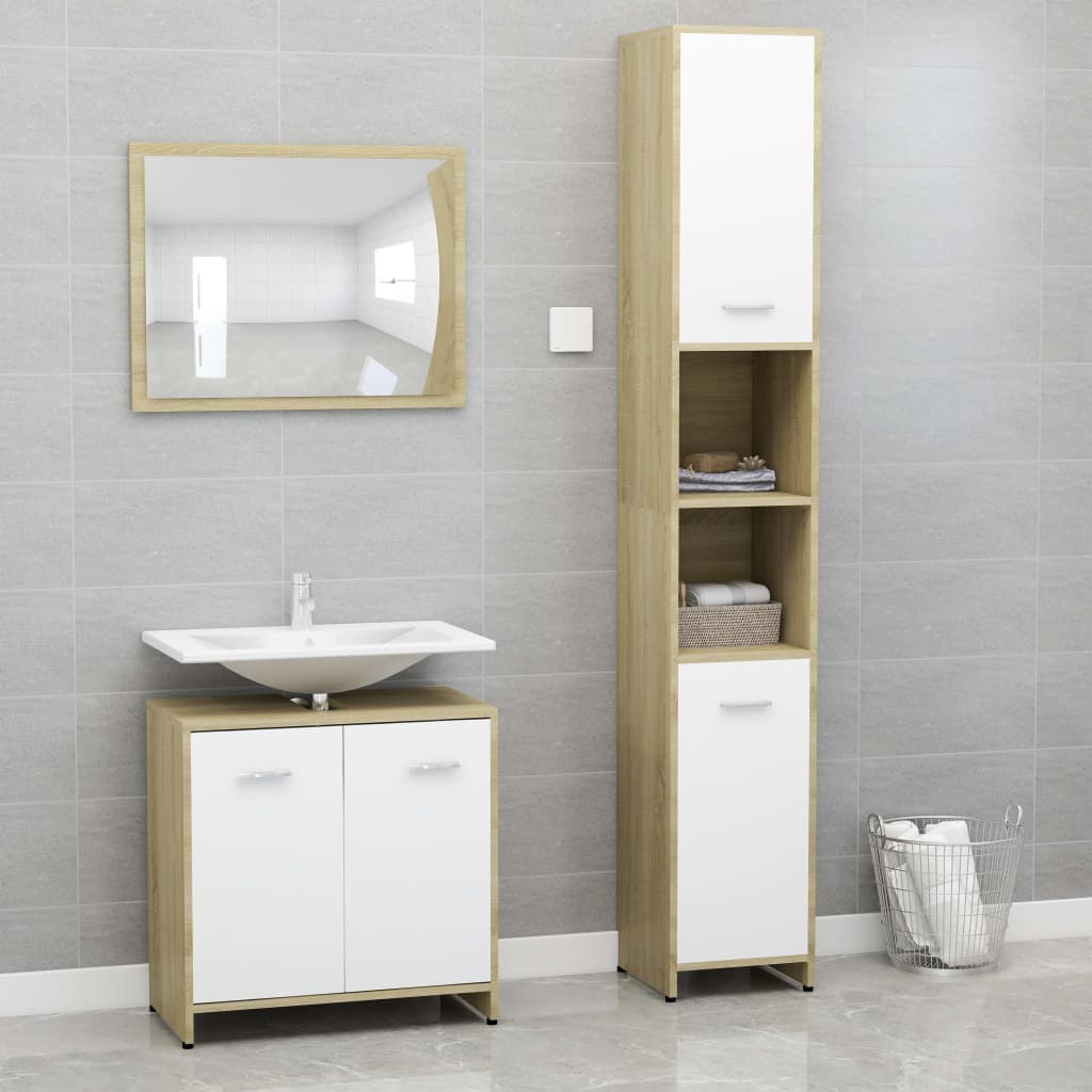 vidaXL Set mobilier de baie, 3 piese, alb și stejar Sonoma, PAL imagine vidaxl.ro