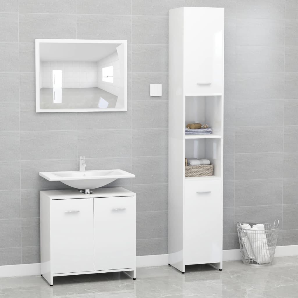 vidaXL Set mobilier de baie, 3 piese, alb extralucios, PAL vidaxl.ro