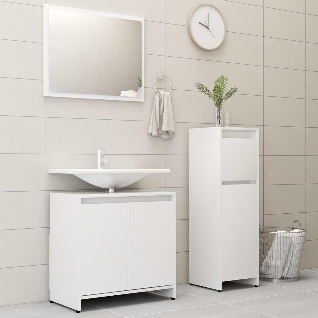 vidaXL Set mobilier de baie, 3 piese, alb, PAL imagine vidaxl.ro