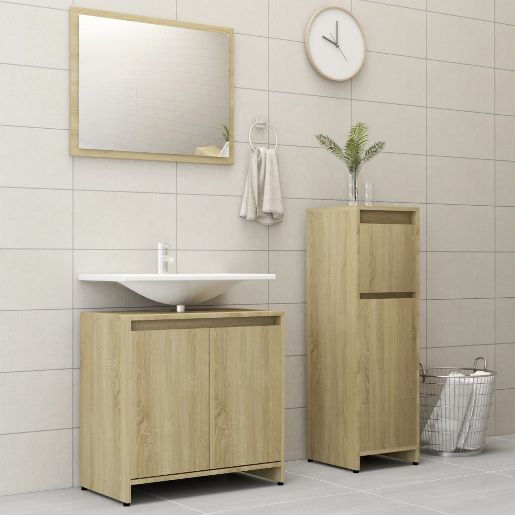 vidaXL Set mobilier de baie, 3 piese, stejar Sonoma, PAL imagine vidaxl.ro