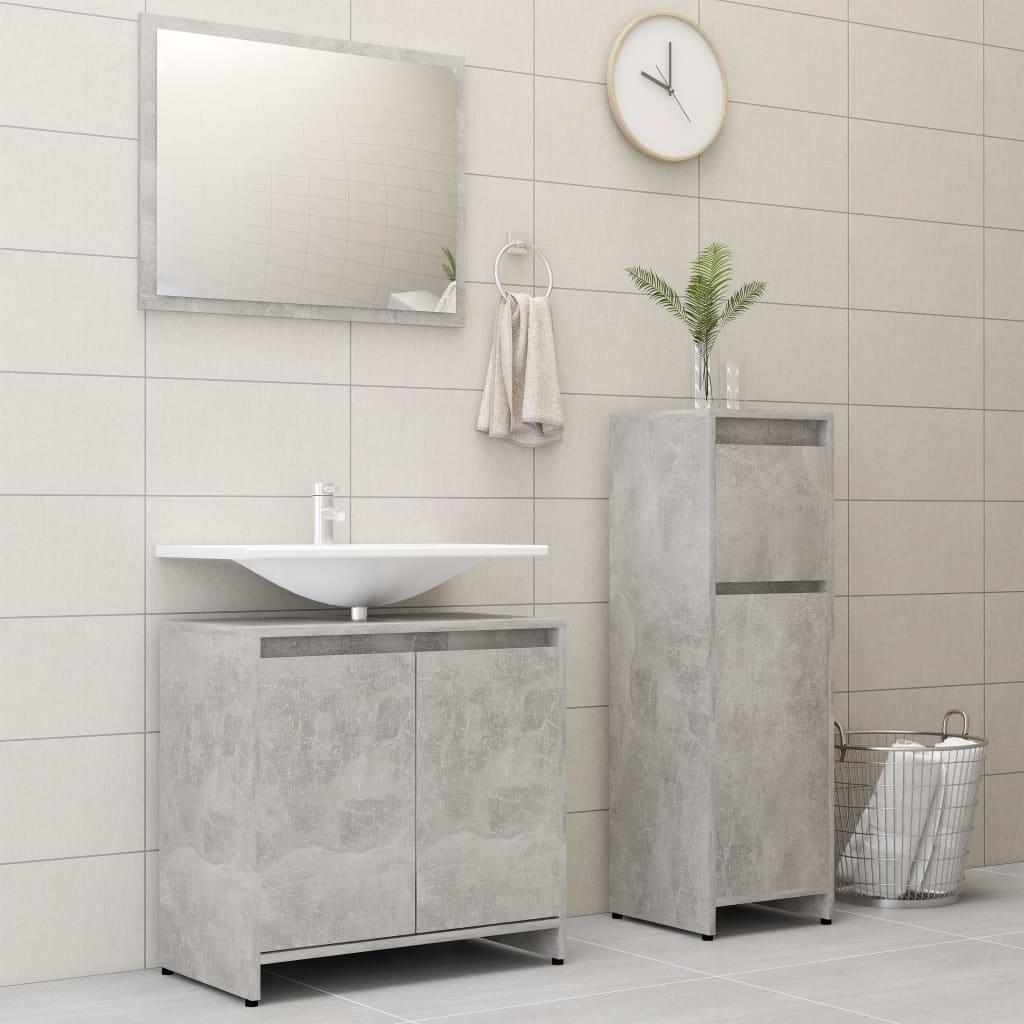 vidaXL Set mobilier de baie, 3 piece, gri beton, PAL poza vidaxl.ro