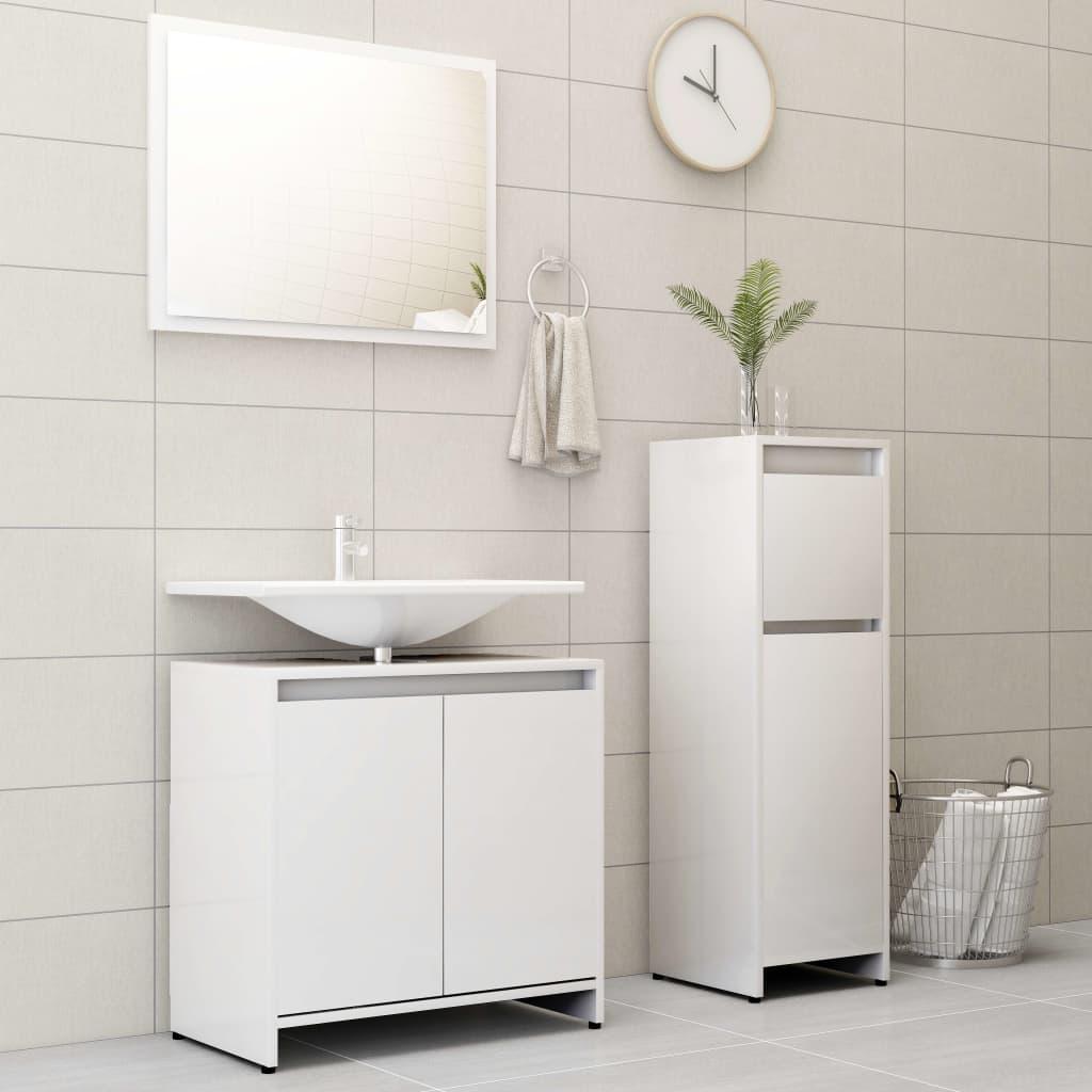 vidaXL Set mobilier de baie, 3 piese, alb extralucios, PAL imagine vidaxl.ro