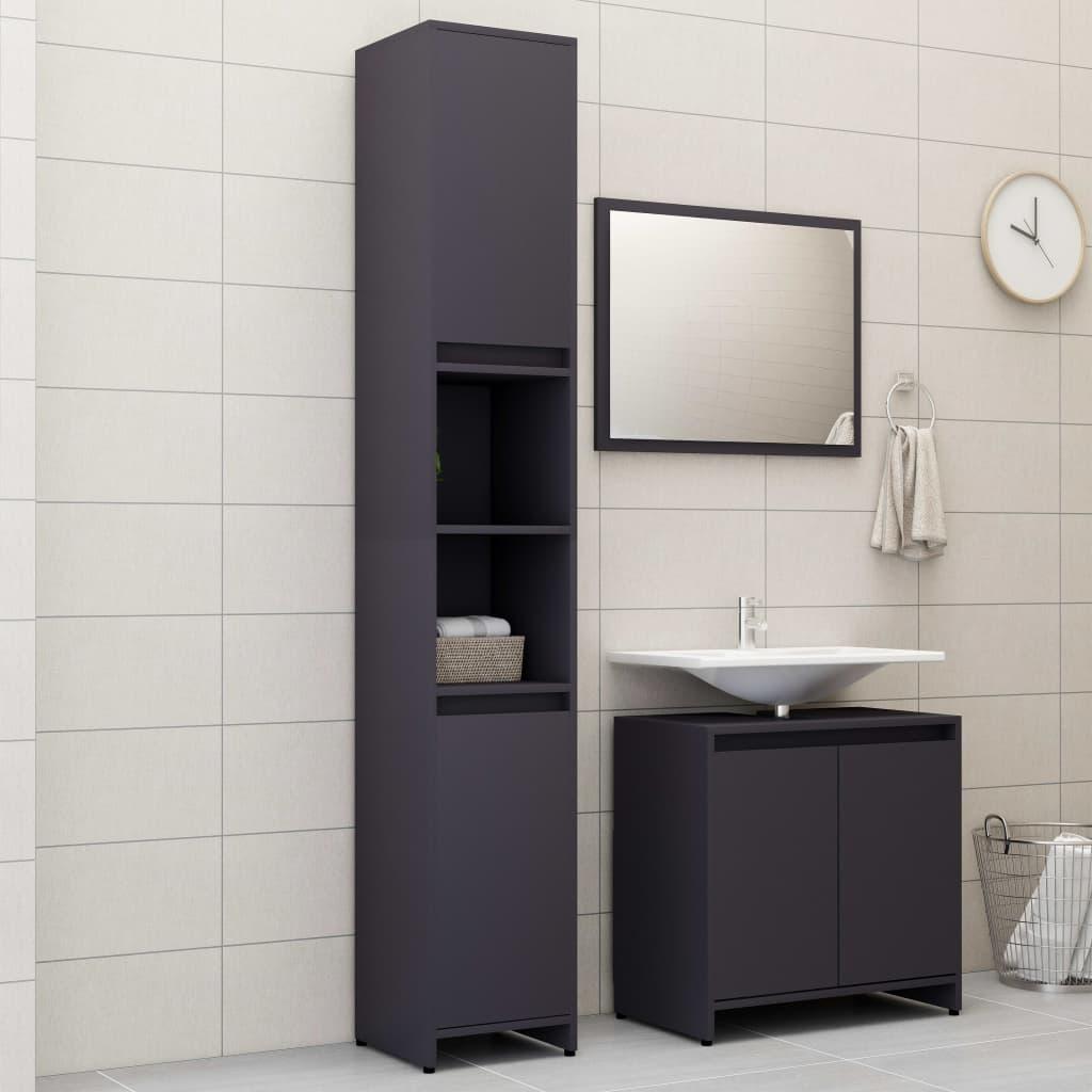 vidaXL Set mobilier de baie, 3 piese, gri, PAL imagine vidaxl.ro