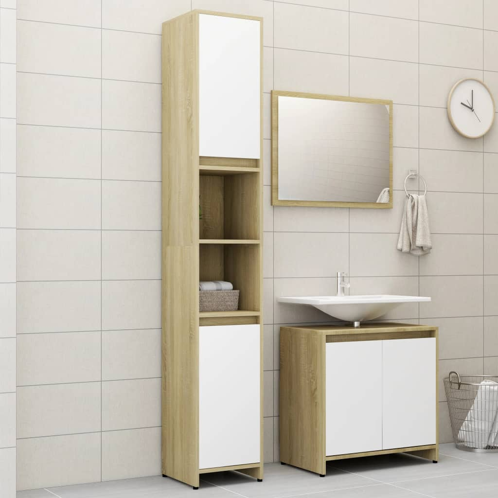 vidaXL Set mobilier de baie, 3 piese, alb și stejar Sonoma, PAL vidaxl.ro