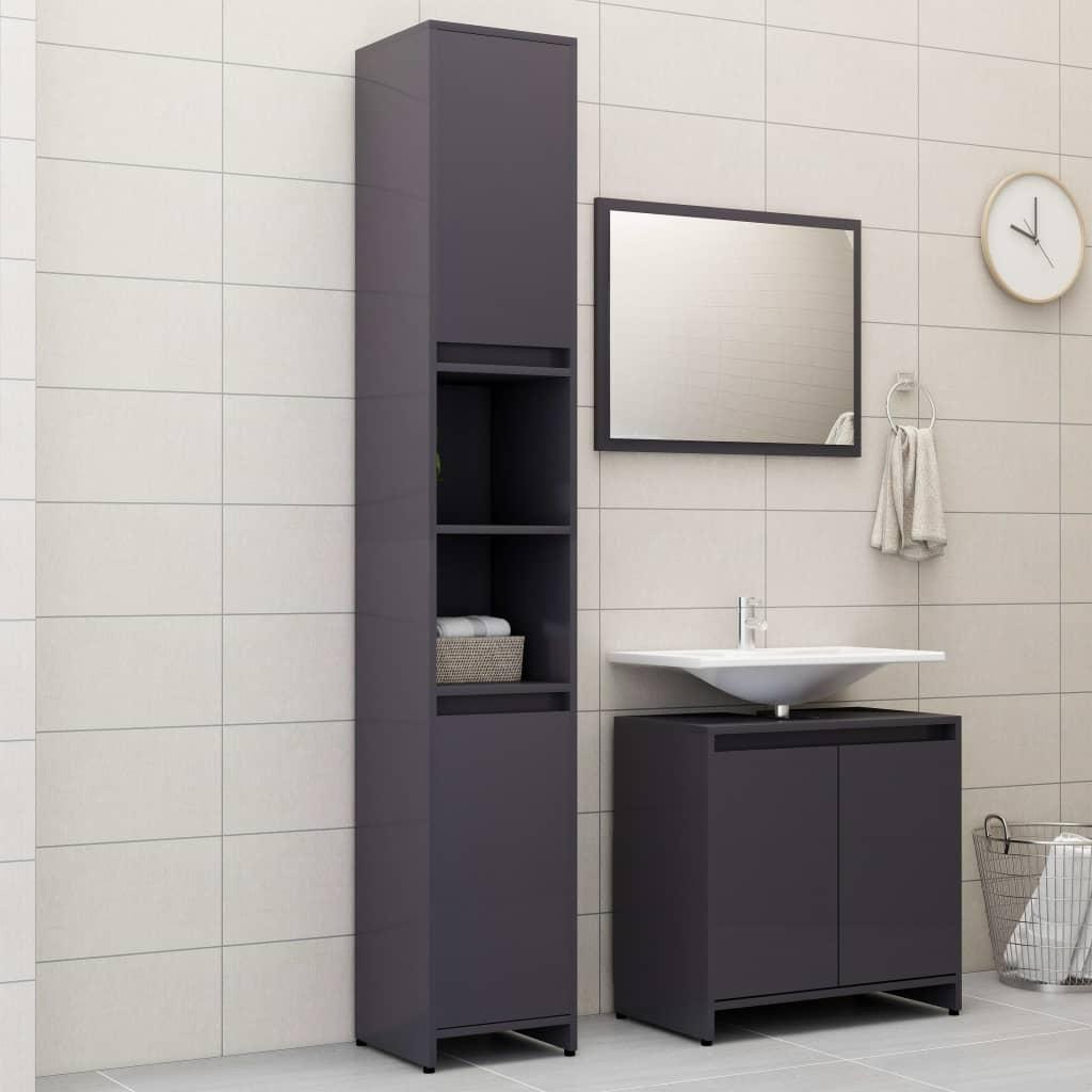 vidaXL Set mobilier de baie, 3 piese, gri extralucios, PAL vidaxl.ro