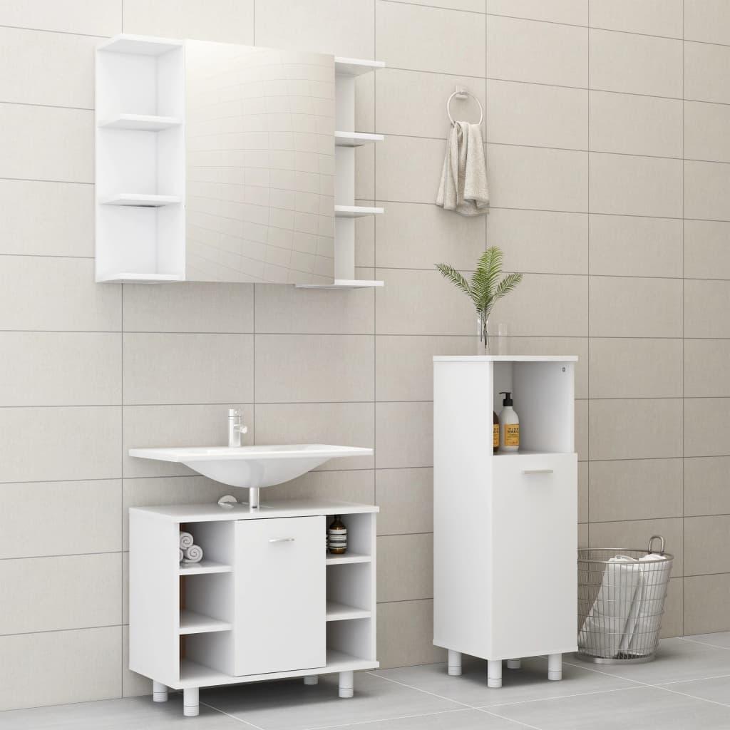 vidaXL Set mobilier de baie, 3 piese, alb, PAL poza 2021 vidaXL
