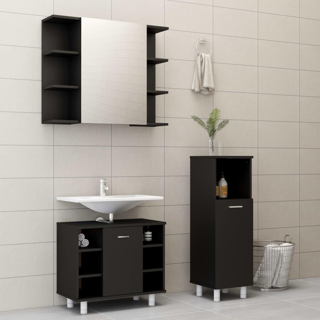 vidaXL Set mobilier de baie, 3 piese, negru, PAL vidaxl.ro