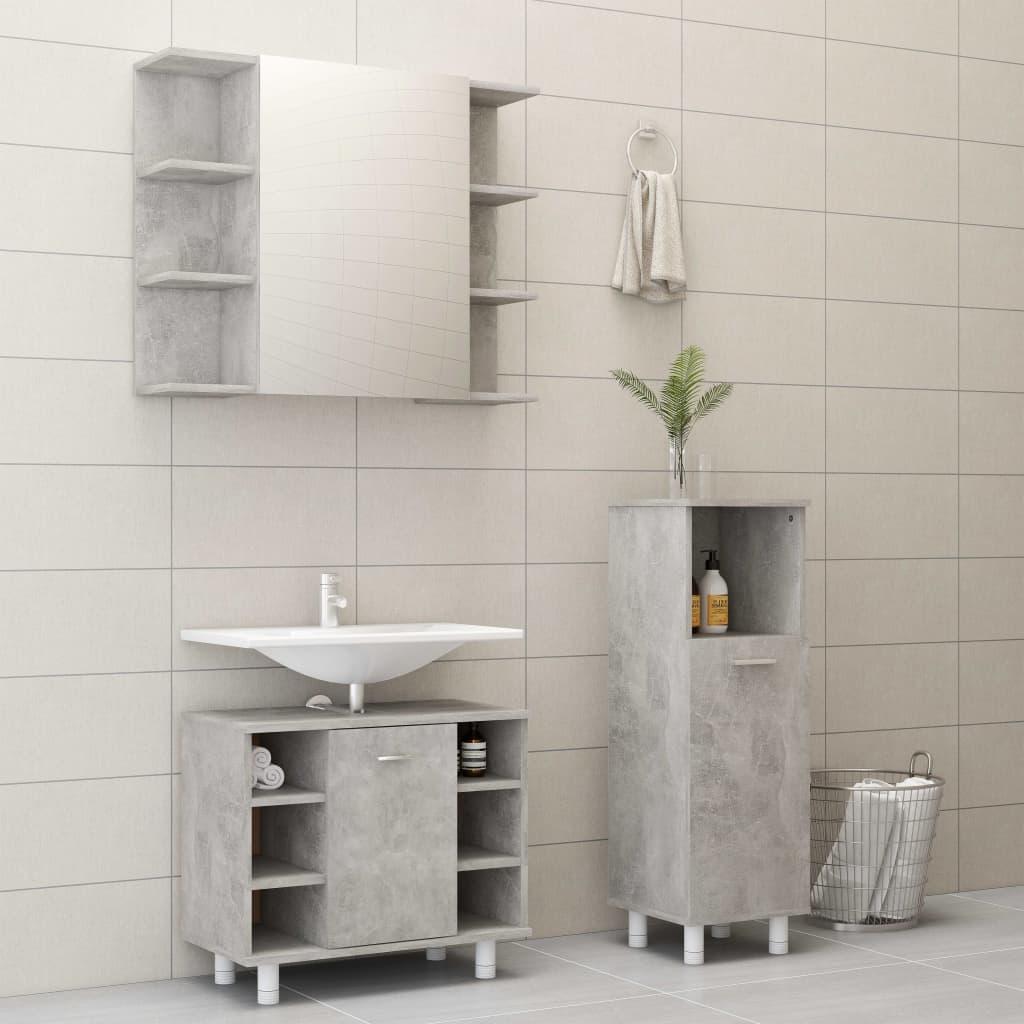 vidaXL Set mobilier baie, 3 piece, gri beton, PAL imagine vidaxl.ro