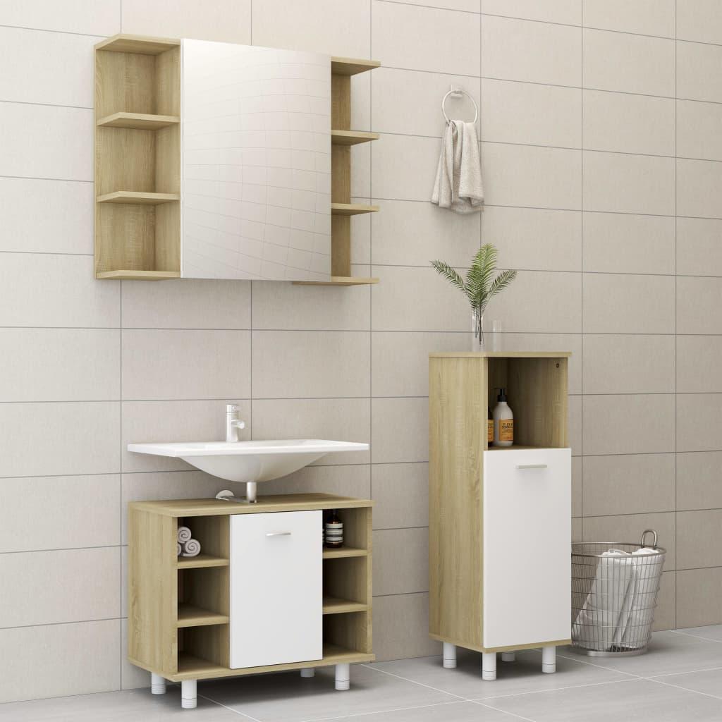 vidaXL Set mobilier de baie, 3 piese, alb și stejar Sonoma, PAL poza 2021 vidaXL