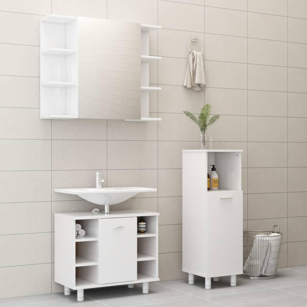 vidaXL Set mobilier baie, 3 piese, alb extralucios, PAL poza vidaxl.ro