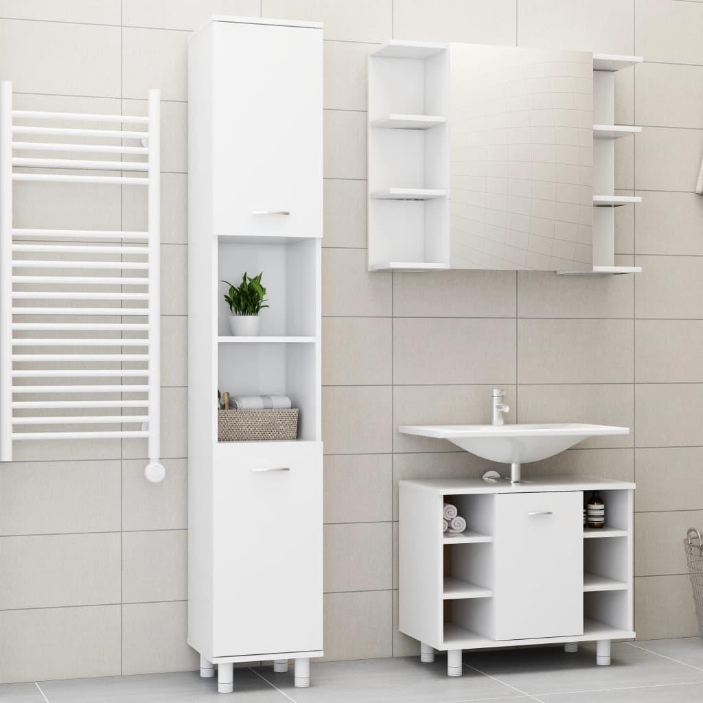 vidaXL Set mobilier baie, 3 piese, alb, PAL poza vidaxl.ro