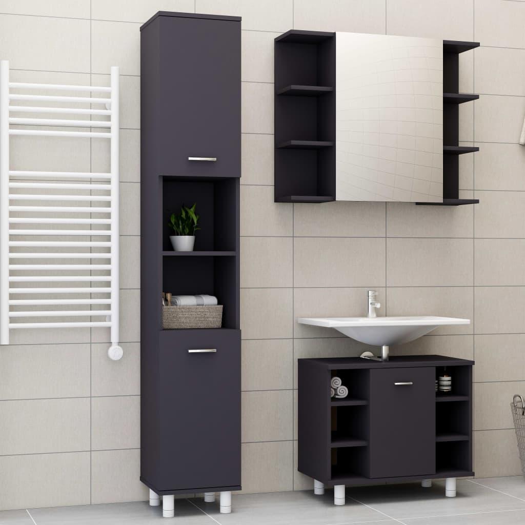 vidaXL Set mobilier baie, 3 piece, gri, PAL poza vidaxl.ro