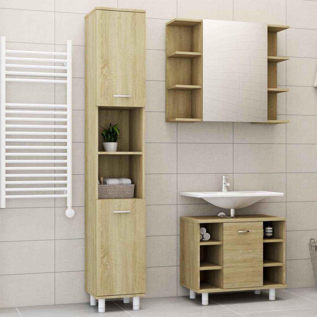 vidaXL Set mobilier baie, 3 piece, stejar Sonoma, PAL poza 2021 vidaXL