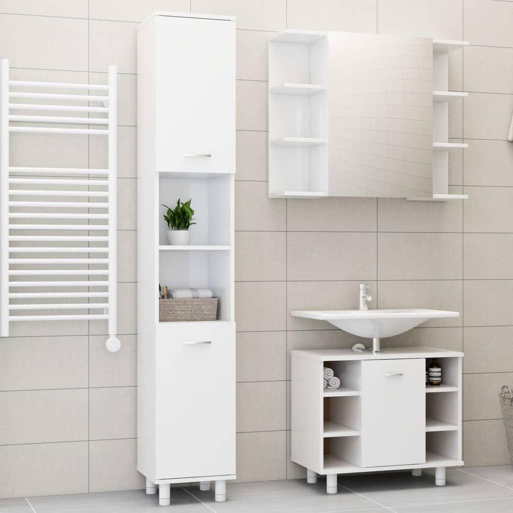 vidaXL Set mobilier baie, 3 piece, alb extralucios, PAL imagine vidaxl.ro