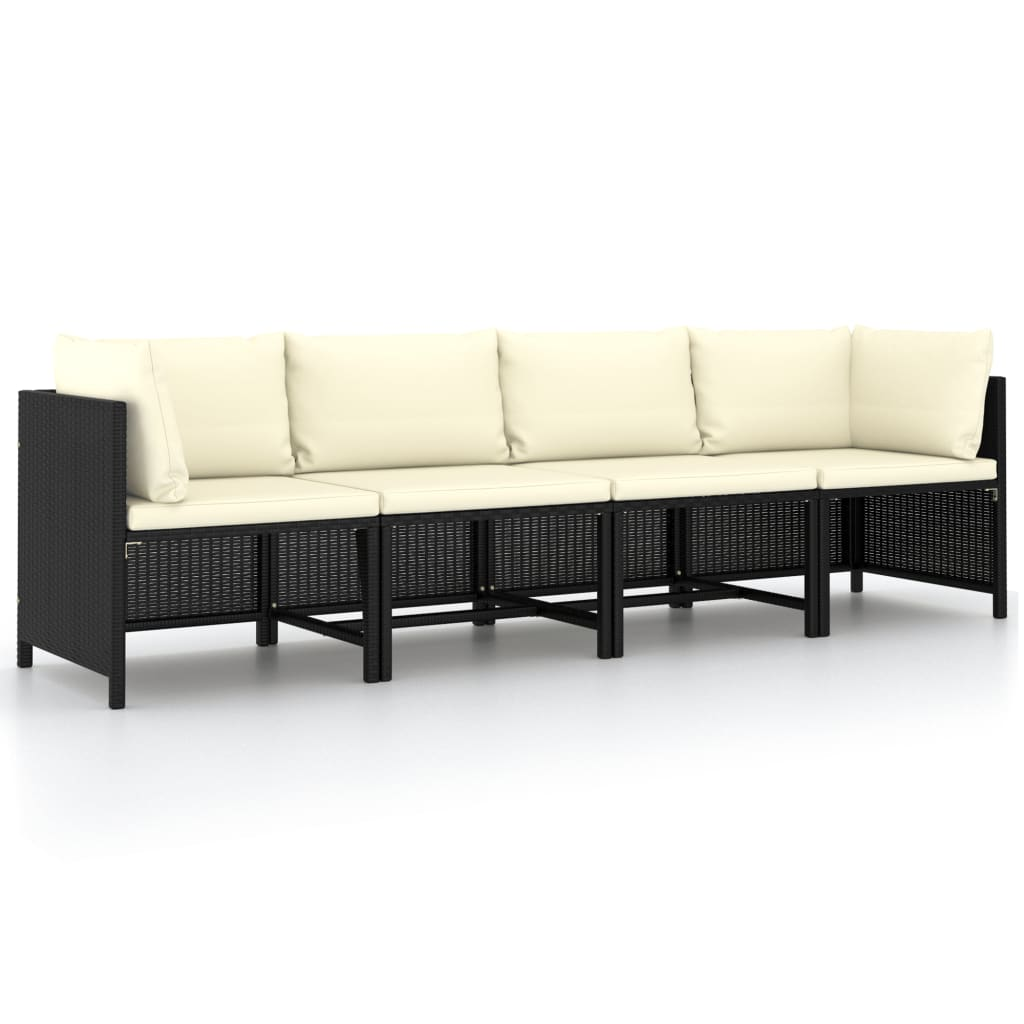 vidaXL Canapea de grădină cu 4 locuri, cu perne, negru, poliratan poza vidaxl.ro