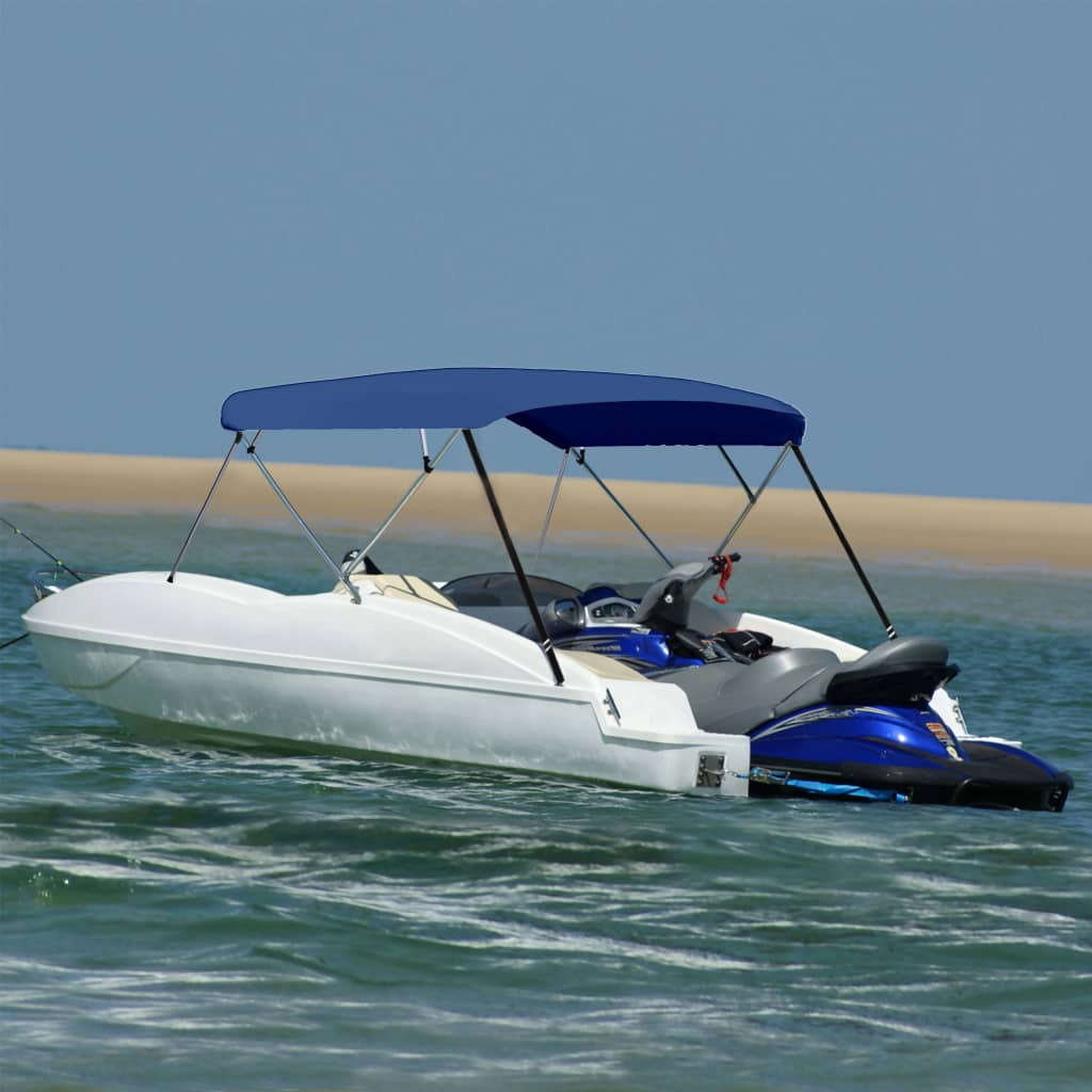 vidaXL Parasolar barcă Bimini 4 arcuri bleumarin, 243x(230-244)x137 cm