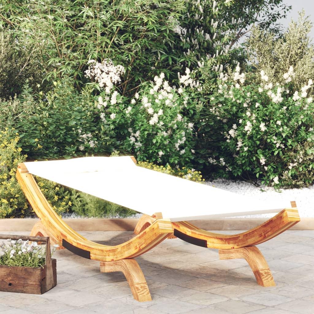 vidaXL Zahradní lehátko 100x188,5x44 cm masivní smrkové dřevo krémové