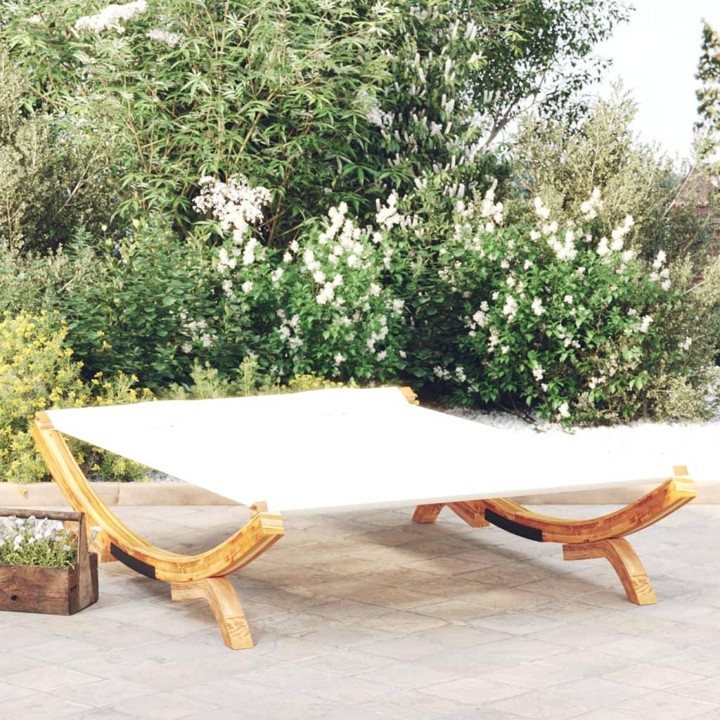 vidaXL Zahradní lehátko 165x188,5x46 cm masivní smrkové dřevo krémové