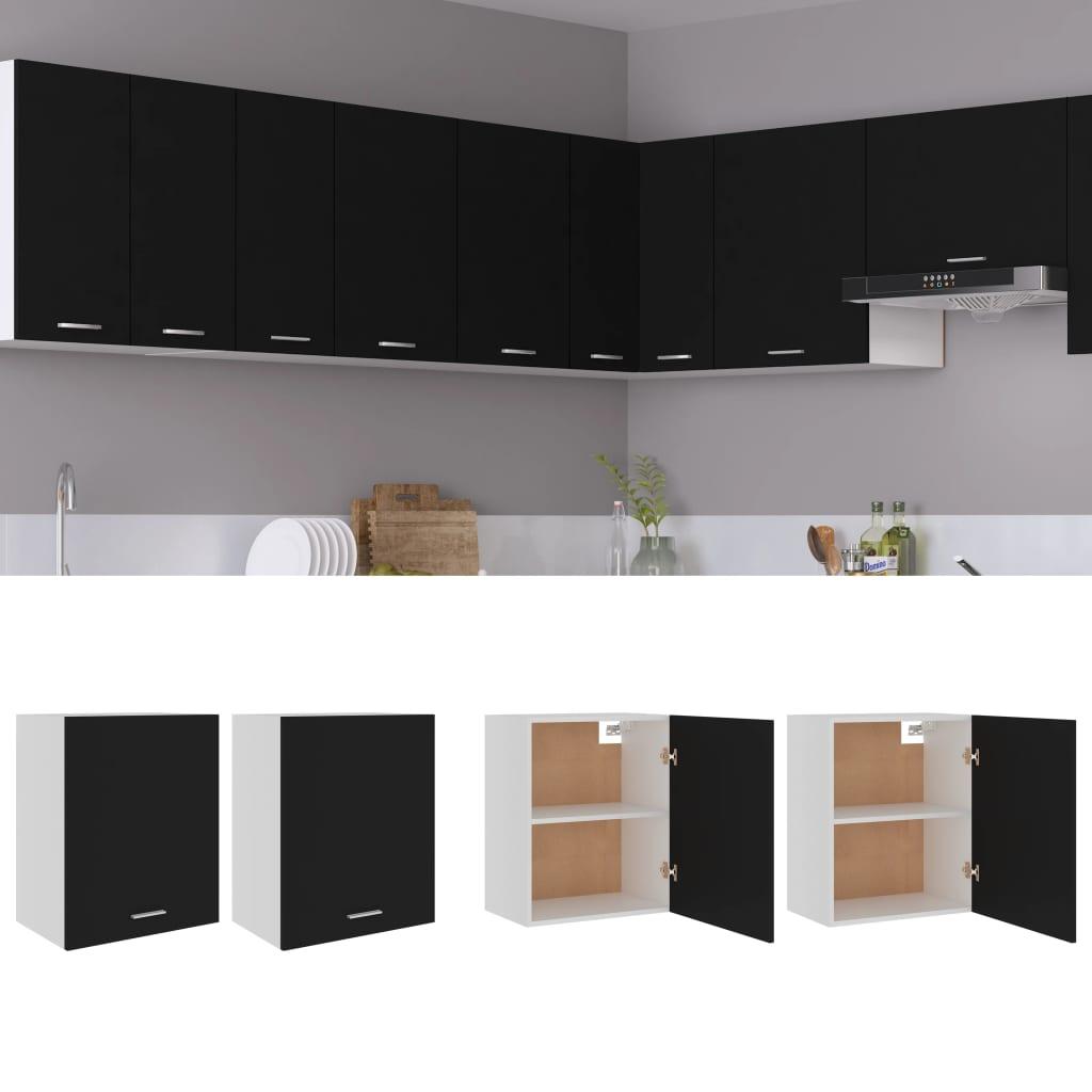 vidaXL køkkenskabe 2 stk. 50x31x60 cm spånplade sort