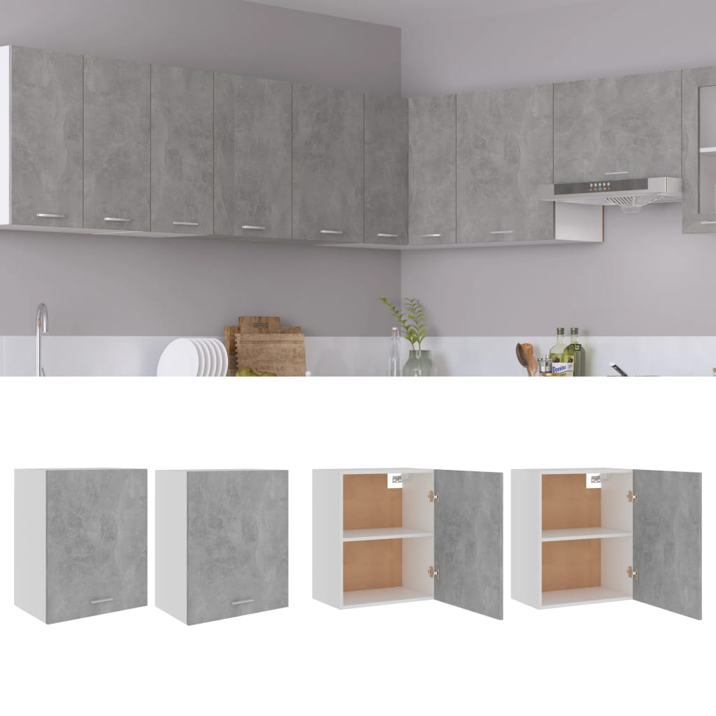 vidaXL køkkenskabe 2 stk. 50x31x60 cm spånplade betongrå